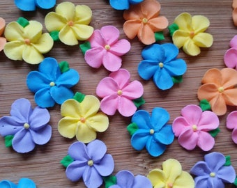 Small royal icing flowers with attached leaves -- Edible cake decorations cupcake toppers (24 pieces)