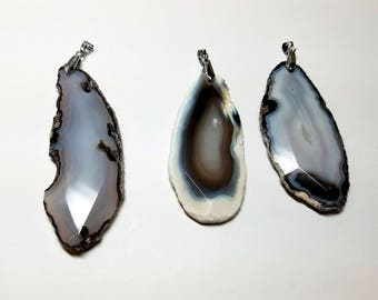 Agate Slice Pendants 69mm to 85mm