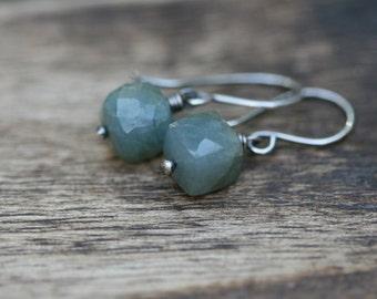 Rustic 3D Aquamarine  earrings . everyday wear . lightweight . square aquamarine stone . sterling silver and Aquamarine . minimalist . small