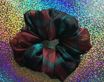 Holiday Collection: Festive Silky SHEER PLAID Hair Scrunchie