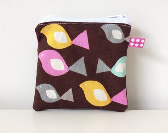 Birds Zippered Pouch - Coin Pouch - Brown, Pink, Yellow - Coin Purse - Tiny Purse - Cute Accessories, Card Holder, Small Accessories Bag
