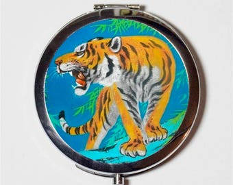 Tiger Compact Mirror - Animal Art - Make Up Pocket Mirror for Cosmetics