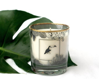 Illustrated Natural Soy Wax Candle 250ml available in two scents