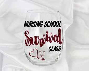 Nursing school gift, nursing school mug, nursing student gifts,  20oz wine glass, Name included
