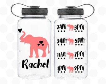 Elephant water bottle - water intake bottle - elephant bottle - Water bottle 34oz. - Elephant gifts - cute elephant - elephant cup