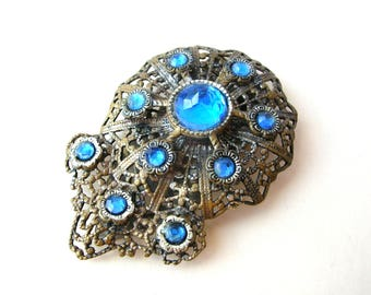 Blue Rhinestone Dress Clip - Antique Filigree Clip
