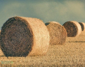 Farm Landscape Photography | Hay Bale Picture | Vintage Style Art | Weather Picture | Hay Picture | Farm Art  | Round Hay Bale Print