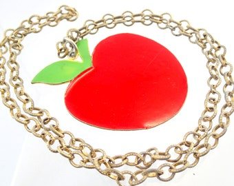 FREE Shipping Vintage ART Signed Enamel 70s Teacher Pendant Necklace Huge Big Red Metal Bulky Chunky