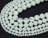 Natural White Alabaster Gemstone Faceted Round Beads 16''  4mm 6mm 8mm 10mm 12mm Spacer Beads 15.5'' Great For Jewelry Design