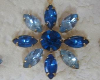 Light and Dark Sapphire 36MM Multi 9 Stone Rhinestone Navette Chaton Brass Flower Pendant