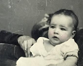 Baby & Hidden Mother Civil War Era Tintype Photo