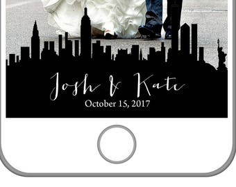 NYC Wedding Snapchat Filter | New York City Skyline | Big Apple Filter | Personalized Snapchat Filter | Newlywed Filter