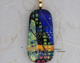 Dichroic Glass Pendant Jewelry Cabochon fused 020