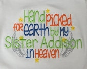 ON SALE personalized with name handpicked by my sister brother dad mom grandma grandpa in heaven Angel Custom embroidered saying shirt t-shi