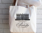Jane Austen-Pride and Prejudice-I'd Rather Be at Pemberley | Market/Tote Bag | Natural Cotton | Christmas Gift, Hostess Gift, Birthday Gift