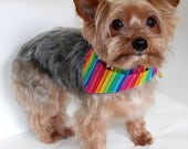 Rainbow Dog Bandana, S M L Reversible tie-on bandanas for dogs, spring summer or pride bandanas, Fashion Dog Clothes