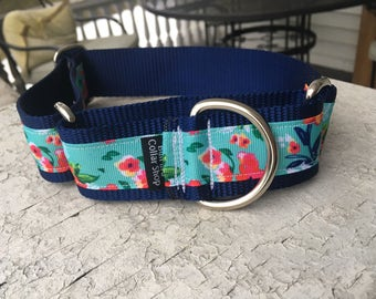 """Rogue's Poppies on Navy -  1.5"""" Martingale Collar"""