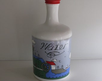 Vintage MILK GLASS WATER Bottle/Lillian Vernon Water Bottle/Country Folk Art Water Bottle/Vintage Kitchenware/Water Carafes/Made in Italy