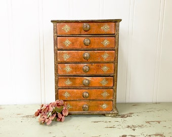 ITALIAN FLORENTINE Jewelry Box - Chest of Drawers - Florentine Box - Chippy Gold - Shabby Italy Chic - Florentine Box - Jewelry Box