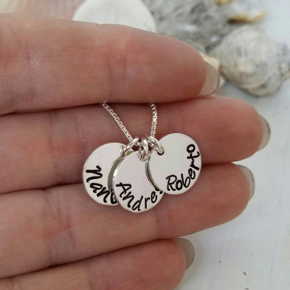 Personalized name necklace, Sterling silver name necklace, 3 name necklace, Personalized Mothers necklace, Minamilist Necklace, Three charms