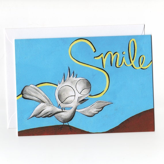 Greeting Card - Smile, Dream Bird Art, Inspirational Cards, Motivational Cards, Inspirational Greeting Cards, Positive Greeting Cards