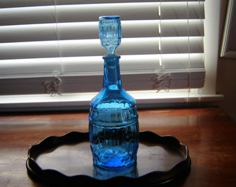 Vintage barware bitters decanter aqua blue bottle bitters serving drinkware barware collectible blue glass kitchen decor