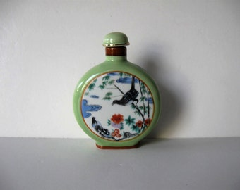 "Vintage Porcelain Snuff Bottle, Signed, Collectible Asian Decor, 4 1/2"" tall, sea foam green, birds, flowers, gift idea"