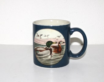Vintage OTAGIRI Coffee Mug. 1980s 90s Mallard Ducks Painting Design Blue Tea Cup . Stoneware Mug . Made in Japan . Christmas Gift
