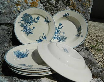 Vintage french, 5 Flat plates and 2 plates FERIA U and C Sarreguemines
