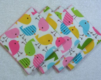 Eco Friendly Cotton Flannel Reusable Soft Absorbent Hankie Hankerchief Set of 4 Ready to Ship