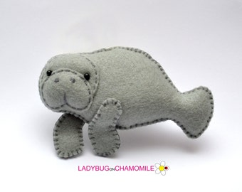 Felt MANATEE, stuffed felt Manatee magnet or ornament, cute Manatee,Manatee toy, River creatures, home decor, Nursery decor, Manatee,kids