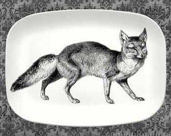 Fox serving melamine platter