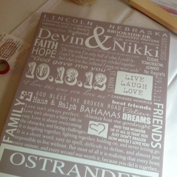 Personalized Wedding Canvas: Custom Canvas 20x30 Family Tree Personalized Holiday