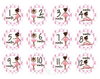 Baby Month Stickers Ballerina African American Month Stickers Milestone Dark Skin Baby Shower Gift Milestone Stickers  Dance Stickers