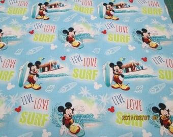 "MICKEY  MOUSE  Live, Love And  SURF   "" New Design ""   pattern 1/2  Yard - 100% Cotton Very Cute Fabric"