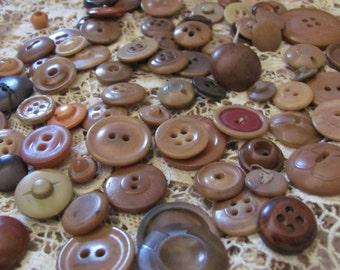 Buttons Lot of 80 Assorted Antique Vintage Bakelite Vegetable Plastic Buttons