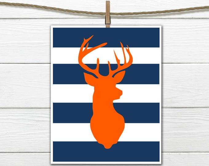 Deer Silhouette - Antlers - Hunting Lodge Decor - Nursery Decor-  Antler Print