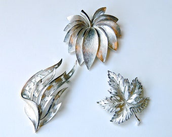 3 Vintage Brooch Pins Trifari Silver Tone Leaves Flame High Fashion