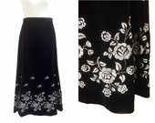 RESERVED Black And Silver Velvet Skirt | Vintage Skirt | Black Maxi Skirt | Long Evening Skirt | Silver Lamé Embroidered | Opera Skirt