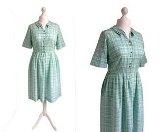 Vintage Carol Brent Dress - Double Peter Pan Collar - 60's Shirtwaister - 1960's Vintage Dress - Green Check Shirt Dress