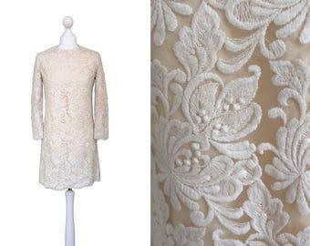 Vintage 1960's Illusion Lace Dress - Couture - 60's Mini Dress - Cream Dress