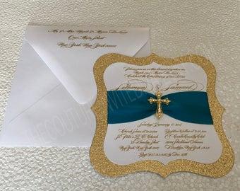 Twins First Holy Communion Invitation; Twins Confirmation Invitation, Twins Baptism Invitation, Twins Christening Invitation, Twins Invite