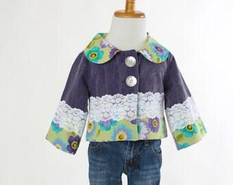 Girls Toddler Size 2 Easter Jacket Purple Denim Jacket Short Spring Jacket White Lace Jacket Boutique One of Kind Jacket Ready to Ship