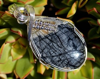 Picasso Jasper Stone Pendant, Picasso Marbel Stone, Argentium Sterling Silver Wire Wrapped, Handmade Natural Stone Jewelry Necklace