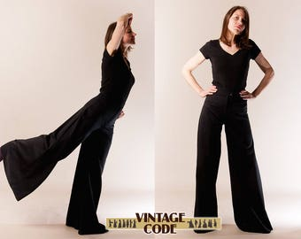 Black Palazzo Pants /  High waist wide legs pants /  French Trevira vintage Floor Length palazzo pants /  size small