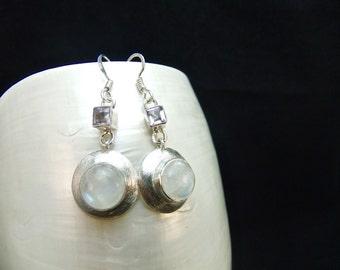 Amethyst & Moonstone Sterling Silver Drop Earrings