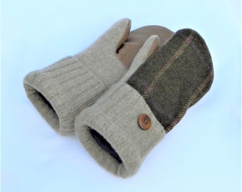 Woman's Felted Wool Mittens - Brown - Leather Palms - Medium - Ready to Ship