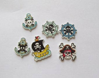 Pirate Buttons - set of 6