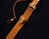 FM Co. Lion's Head Watch Fob Chain Signed Antique Art Nouveau Ladies Chatelaine Mesh