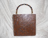 Cigarbox Purse, Pocketbook, Tooled Rust Rose Print Leather, Tina Marie Purse Purse, Vintage, Gold